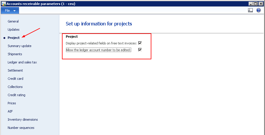 track project revenues from free text invoices in microsoft dynamics