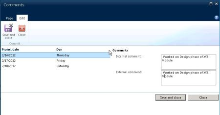 Consolidated Timesheet Comments