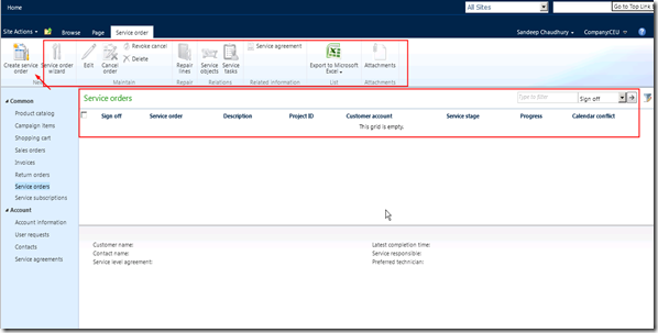 View and perform actions on your service orders on the portal