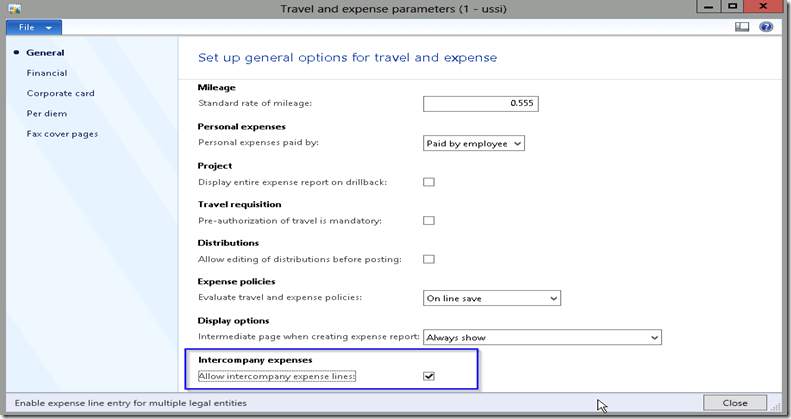 Travel & Expense Paramter AX 2012