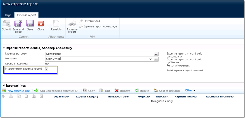 intercompany expense reporting and management in microsoft dynamics