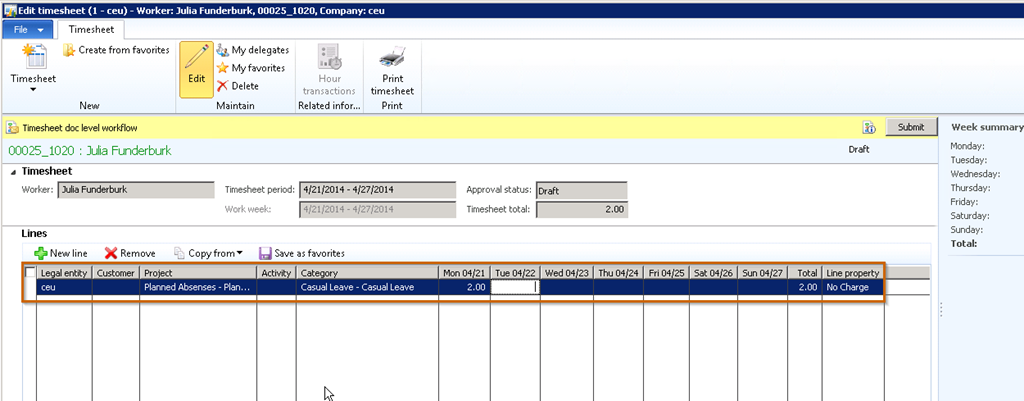 enable audit trials on project timesheets entry and reporting in