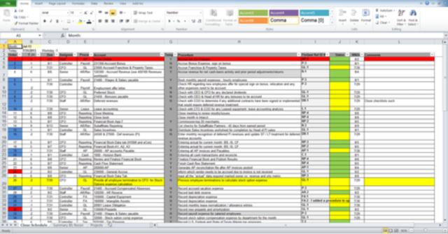 Fiscal Period Closing Status - Excel