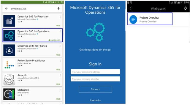 Mobile apps for Dynamics 365 For Operations is available for download in Android