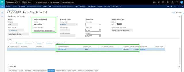 Prepay Invoice