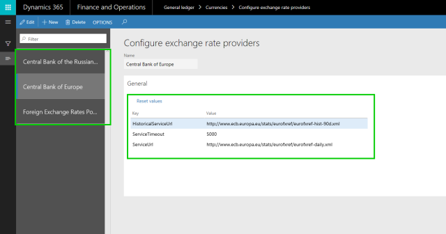 Exchange Rate Providers Config