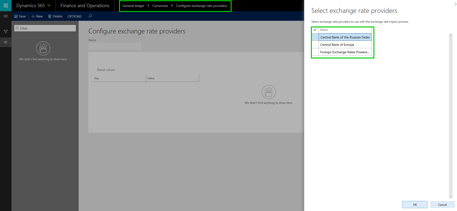 Configure Currency exchange rate providers and import